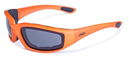 Global Vision Eyewear Sonnenbrille Kickback mit Orange Rahmen und Smoke Objektive -