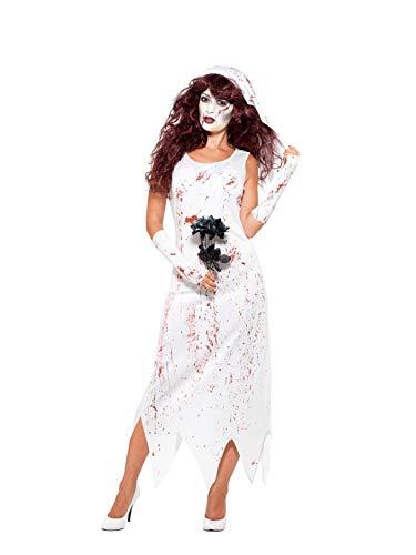 en Zombie Braut Kostüm, Kleid, Handschuhe und Schleier, Größe: 40-42, weiß ()