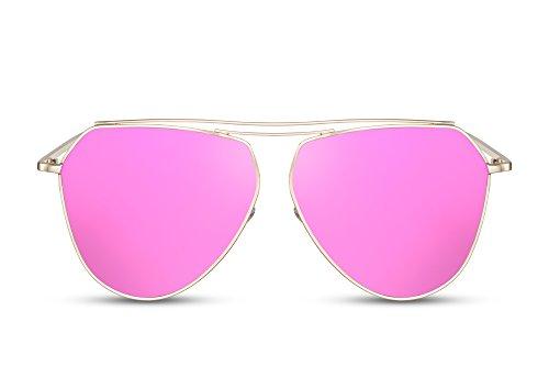 Cheapass Damen Sonnenbrille Aviator Violett Verspiegelt-e UV400 Flat-Mirror Metall Frauen