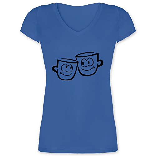 Küche - Tassen - XL - Blau - XO1525 - Damen T-Shirt mit V-Ausschnitt