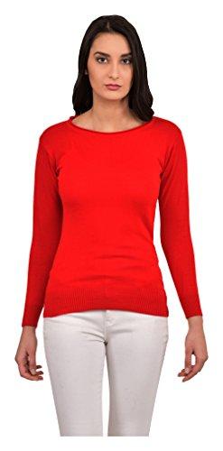 OKANE Women's Woolen Sweatshirt (Red, Medium)