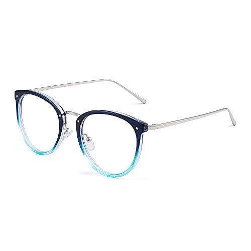 Mode Designer Katzenauge Runden Optischer Rahmen RX-fähig Brillen Gläser Damen Blau