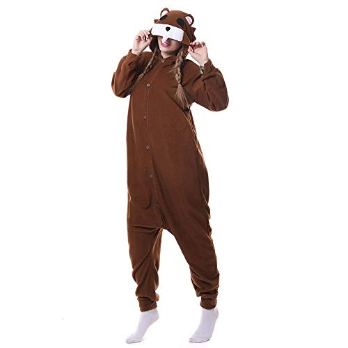 DASENLIN Pyjama Kostüm Cosplay Jumpsuit Overall Cashmere Bärentierkarikatur Körper Mann Frau Winter, S