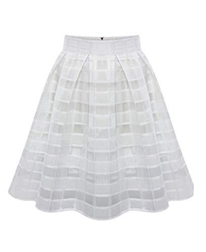 Xmiral Tüllrock Damen Organza Röcke Hohe Taille Reißverschluss Frauen Unterkleid Unterrock(M,Weiß)