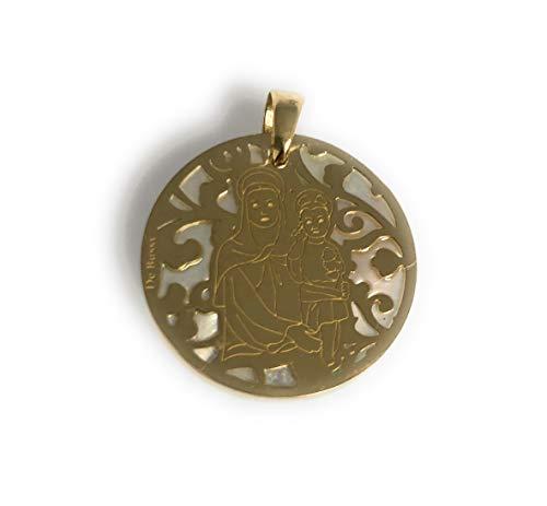 Medalla Virgen del Amor Hermoso en Plata de Ley Cubierta de Oro de 18kt y nácar