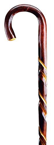 Gehstock Wanderstock ZIEGENHAINER, in einem Stück gebogener Rundhakenstock aus ausgesuchtem Kastanienholz mit doppelt gedrehter Schmuckfräsung veredelt, vernickelte Bergstockspitze als Abschluss., Lagerlängen:91 CM