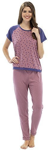 Damen Kurzarm Enge Passform Sterneaufdruck Pyjama Set - Oberteil und Hose - Marineblau / Grau, 36 - 38 Pink / Marineblau