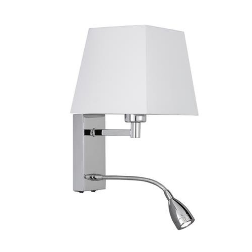 1 Light Wall Lamp with Reading Light Finish: Chrome