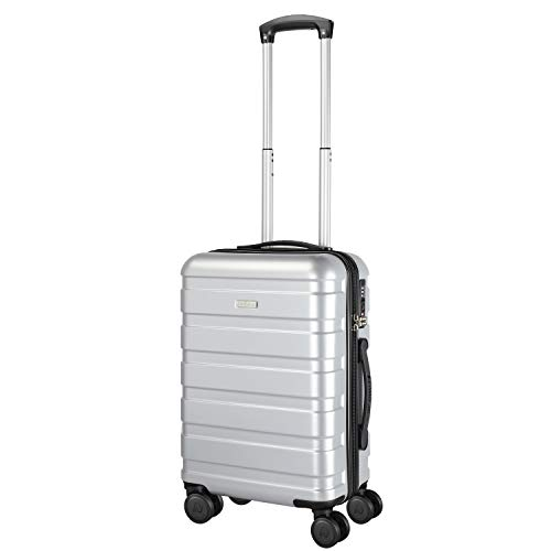 Amasava valigie rigide ABS+PC hard shell super leggero da viaggio Carry On trolley 8 ruote valigia,55cm,40L, Argento