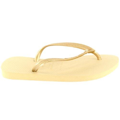 Damen Havaianas Slim Crystal Glamour Sw Flip Flop Sommer Sandale Sandgrau/ Licht Gold