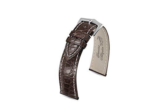 21mm cinturini vera pelle di coccodrillo sostituzione in pelle marrone scuro uomini con contratto cuciture bianche