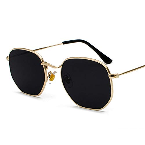 Sport-Sonnenbrillen, Vintage Sonnenbrillen, Vintage Gold Sunglasses Men Square Metal Frame Silver Brown Black Small Sun Glasses Female Unisex Summer Style as in photo full black