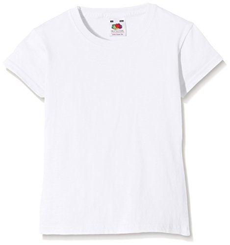 Fruit of the Loom Mädchen T-Shirt Valueweight, Weiß, Gr. 9-11 Jahre (140 cm)