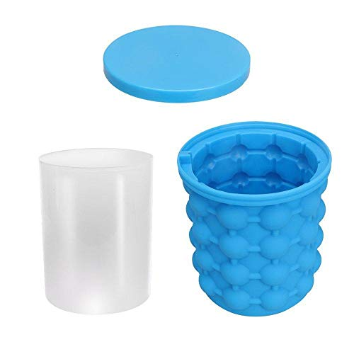 Velliceasay Eiswürfelschale,Silikon-Eisspeicher-Eimer, Make Easy Eisblock, Eiswürfelbehälter Aufbewahren Würfel Eiswürfel für Bier, Cocktails, Whisky, Wasser, Soda, Obst, Pudding