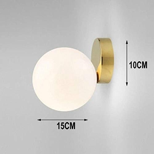 Moderne led glas wandleuchte wohnzimmer schlafzimmer milch weiß global glass shade glaskugel beleuchtung @ dia15cm gold_without birne -