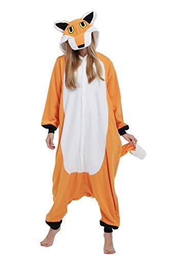 DELEY Unisexo Adulto Caliente Animal Pijamas Cosplay Disfraz Homewear Mamelucos Ropa De Dormir Zorro-2 XL