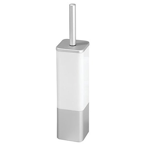 mDesign brosse pour WC moderne avec support en blanc/ argenté – balayette de toilettes haut de gamme (quadratique) – en aluminium inoxydable