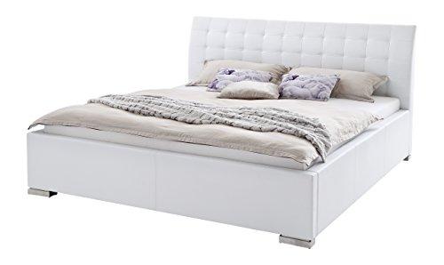 Dormeta Polsterbett Bett 200x200 cm Weiß, Bett mit XXL Kopfteil, Boxspringbett-Optik, Kunstleder Bett Liegefläche 200 x 200 cm, ISA Art Nr. 263-10-60000
