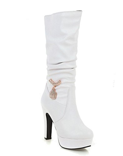 tiefel Schuhe High Heel Over Knie Schenkel Thick Boden Stretch Kunstleder, 37, White ()