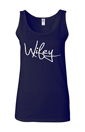 Wifey Hipster Funny Novelty White Femme Women Tricot de Corps Tank Top Vest Bleu Foncé