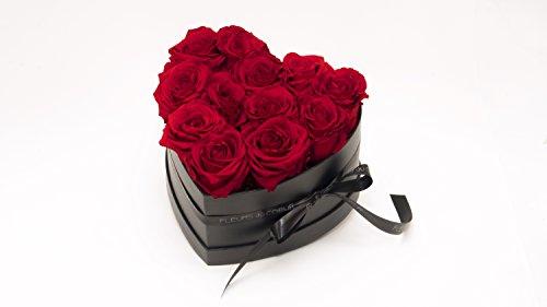 FLEURS du COEUR Infinity Blumen - Schwarze Rosenbox Mon Coeur in Herzform mit Roten Rosen