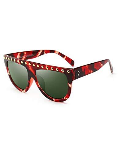 DPDH Sonnenbrillen Bead Flat Top Sonnenbrille Fashion Brand Damen Übergroße Sonnenbrille Luxuy Designer Men Vintage Glasses PilotC4 Leopard Green