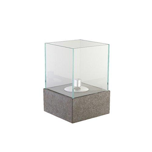 greemotion Öllampe für Draußen mit Glasschirm-Garten Öl Lampe Betonoptik-Outdoor Petroleumlampe mit Glas & Docht-Tisch Leuchte Modern, Stein, grau, 20 x 20 x 30 cm (Stein Tisch)