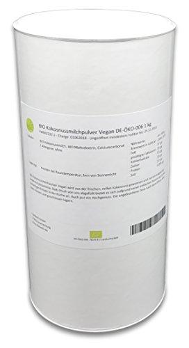 BIO Kokosnussmilchpulver Vegan DE-ÖKO-006 1 kg Kokosmilch-Pulver getrocknet lecker (Kokosmilch Joghurt)