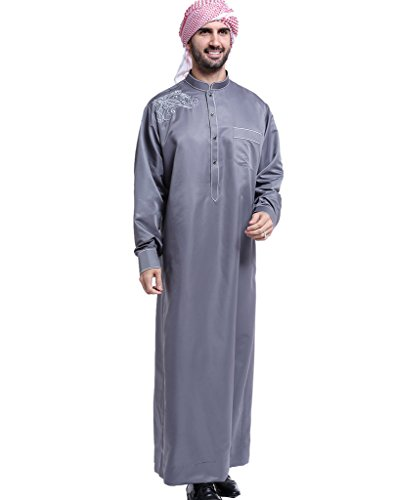 GladThink Hommes Thobe avec Longue Manches Arabe Musulmane Gris XL 86cf9654677