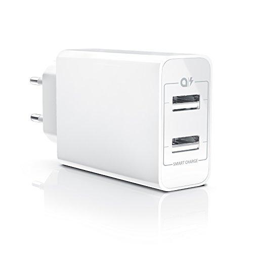 CSL - 24W USB 2 Port Ladegerät / Netzteil Dual Port mit Smart Charge + Solid Charge (intelligentes laden) | geeignet für Apple iPhone, iPad, Samsung Galaxy, Note, Nexus, HTC, Motorola, LG und viele mehr (Dual-usb-ladegerät Iphone 4)