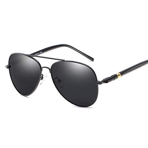 Gläser Farbwechsel Polarisierte Sonnenbrillen für Männer Metallrahmen Classic Pilot Frog Mirror Für Fahren im Freien (Color : 01 Schwarz, Size : Kostenlos)