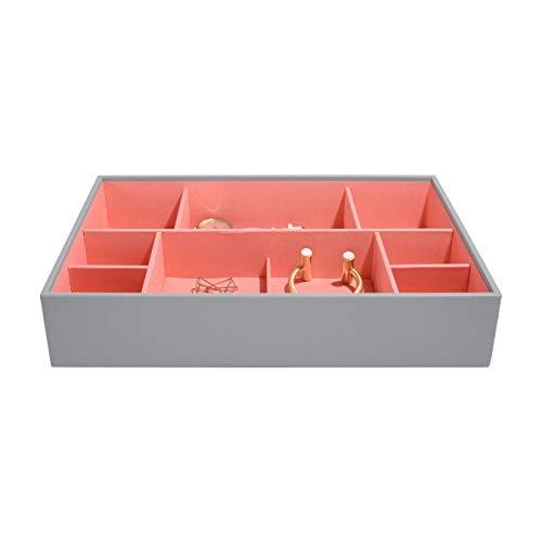 Stackers - Schmuckbox, besonders Tief, 11Fächer, Grey/Coral, 36 x 25 x 7 cm -