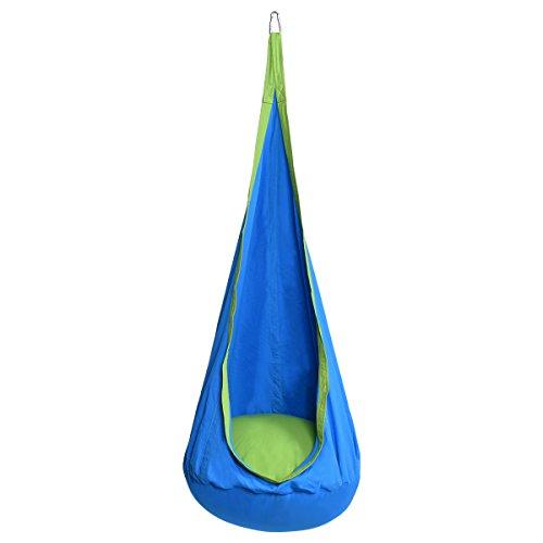 COSTWAY Hängesitz Hängehöhle Hängesessel Kinderhängesitz Kinder Fly Schaukel mit Sitzkissen (Blau)