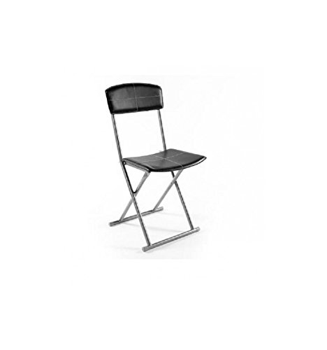 Chaise pliante simil-cuir noir Stella (lot de 4)