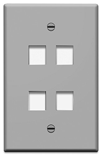 4-gang Wall Plate (On-Q/Legrand WP3404GY 4 Port Single Gang Wall Plate, Gray by Legrand-On-Q)