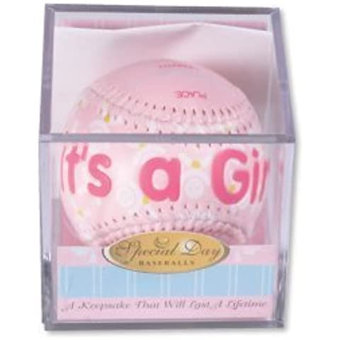 IT'S A GIRL Baseball -BIRTH ANNOUNCEMENT/Keepsake/GIFT/Pink - INCLUDES DISPLAY BOX/Shower/CHRISTENING/NEW BABY GIFT 3