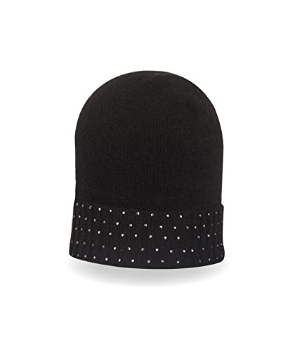 CASH-MERE.CH 100% Kaschmir Mütze | Beanie | Rib Strickmütze mit Strass für Damen und Jugendliche (Schwarz/One Size) Rib Beanie