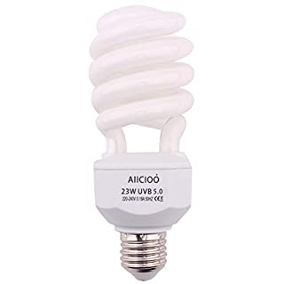 AIICIOO Amphibian UVB Bulb 5.0 23W High UVB Output Tropical Compact Fluorescent Bulb for Reptile Tortoise Lizard Succulent Plants Improve D3 Synthesis Increase Calcium Absorption
