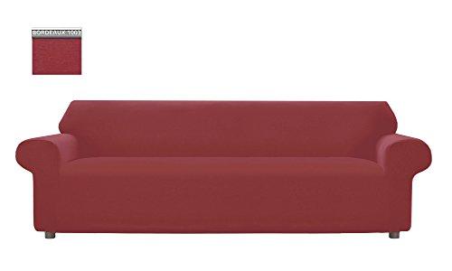 Copridivano genius tinta unita, per divano xl 4 posti, colore bordeaux 1003