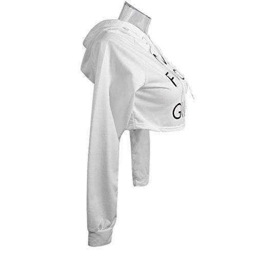 Phenovo Fashion Women Letters Print Design Long Sleeve Short Hip Hoodie Tops white L