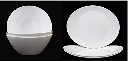 Fitting Gifts Bistro Collection Service Prometeo de Forme Ovale, Blanc Brillant, avec 3X Saladiers et 3X Plats de Service (6 Pièces)