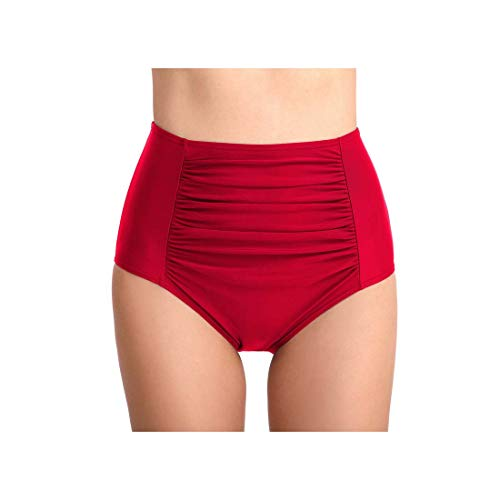 Junior Girls-pleated Shorts (Black Bikini Bottom Women's Swimming Shorts Swimwear Vintage High Waist Two-Piece Separate Triangle Pleated Swim Tankini Trunks Red XL)