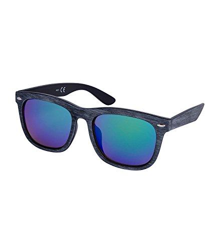 SIX Unisex Sonnenbrille, Wayfarer Stil, eckig, verspiegelte Gläser, grau, grün (324-337)