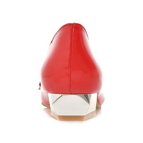 AllhqFashion Damen Rein Pu Niedriger Absatz Spitz Zehe Ziehen Auf Pumps Schuhe Rot