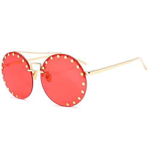 Taiyangcheng Polarisierte Sonnenbrille Vintage Runde Sonnenbrille Frauen Retro Niet Ozean Farbe Objektiv Sonnenbrille Übergröße Weibliche Marke Design Metall Kreis Gläser Oculos,C6