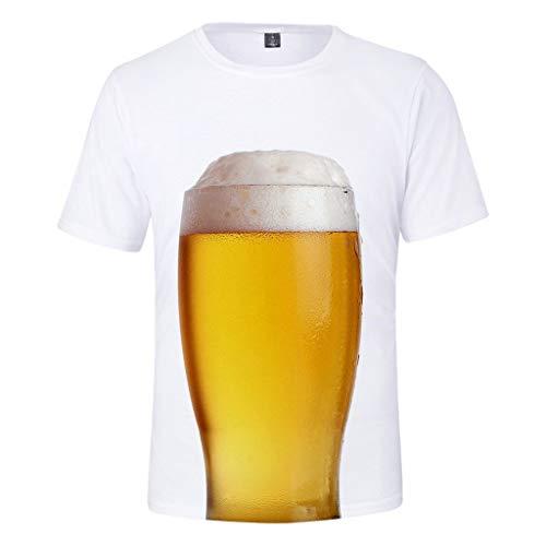 Romantic Herren T-Shirt Rundhals-Ausschnitt Top Einfach Freizeit Hemd Pulli Bierflasche Drucken Kurzarm Shirt Basic Pullover Einfarbig Oberteile für Oktoberfest Bierfest Beer Kostüm Tavern Karneval (Aufblasbare Bierflasche Kostüm)