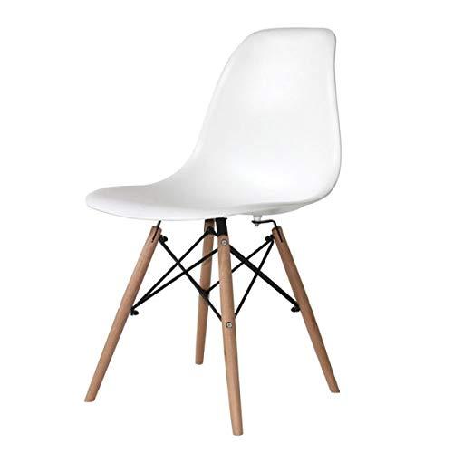 Ventamueblesonline Silla Nórdica Tower Wood Blanca - Réplica Eames -