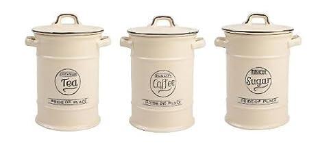 Pride of Place Tea Coffee and Sugar Storage Jars Cream