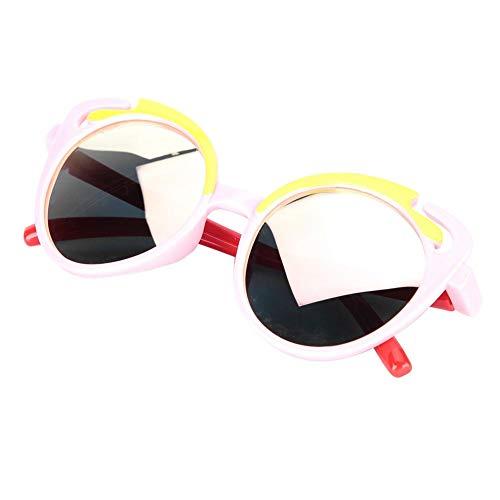 Baby polarisierte Sonnenbrille Weiche Silica Gel Sonnenbrille UV-Schutz für Kleinkinder Flexible Baby Vintage Brille(Pink C3)