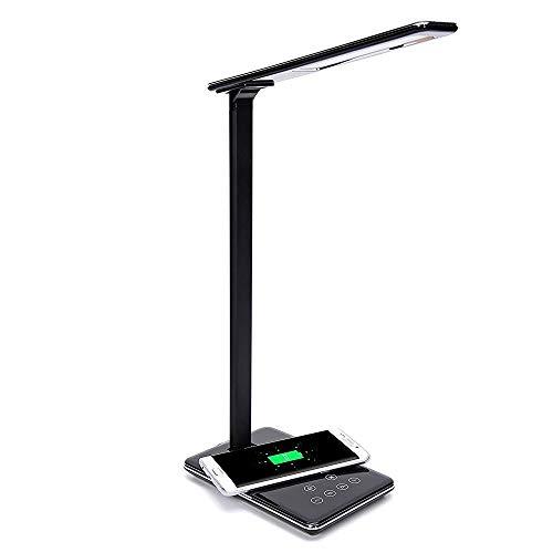 Lampe de Chevet & Chargeur Sans Fil, Lampe de Bureau LED avec Touch Control Lampes de Table Bras en Aluminium Port USB 4 Modes et 5 Niveaux Lampe de Lecture Luminosité Réglable Lampe de Nuit, Noir